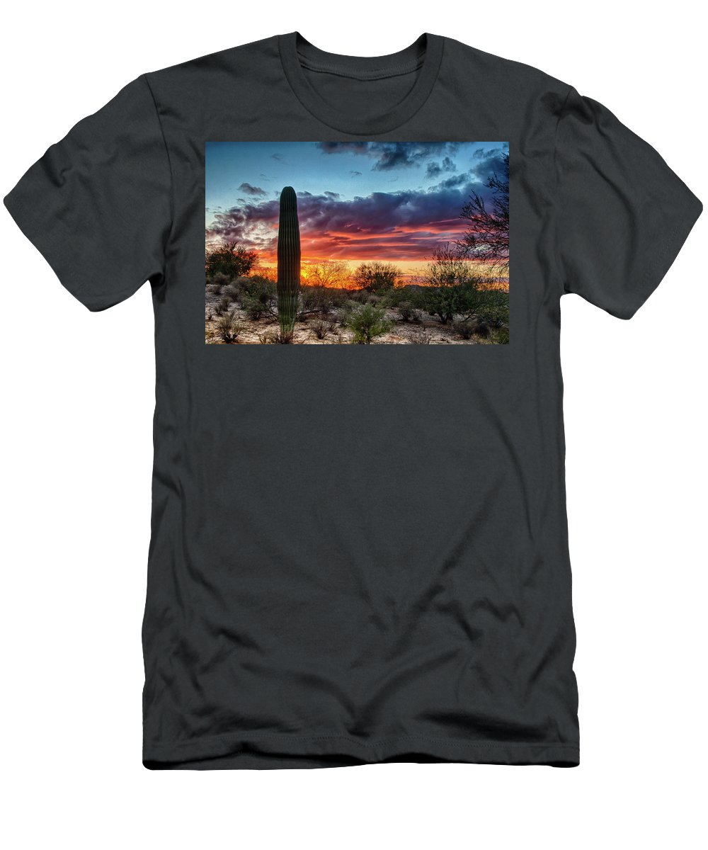 Desert Men's T-Shirt (Athletic Fit) featuring the photograph Lone Cactus by Charlie Alolkoy