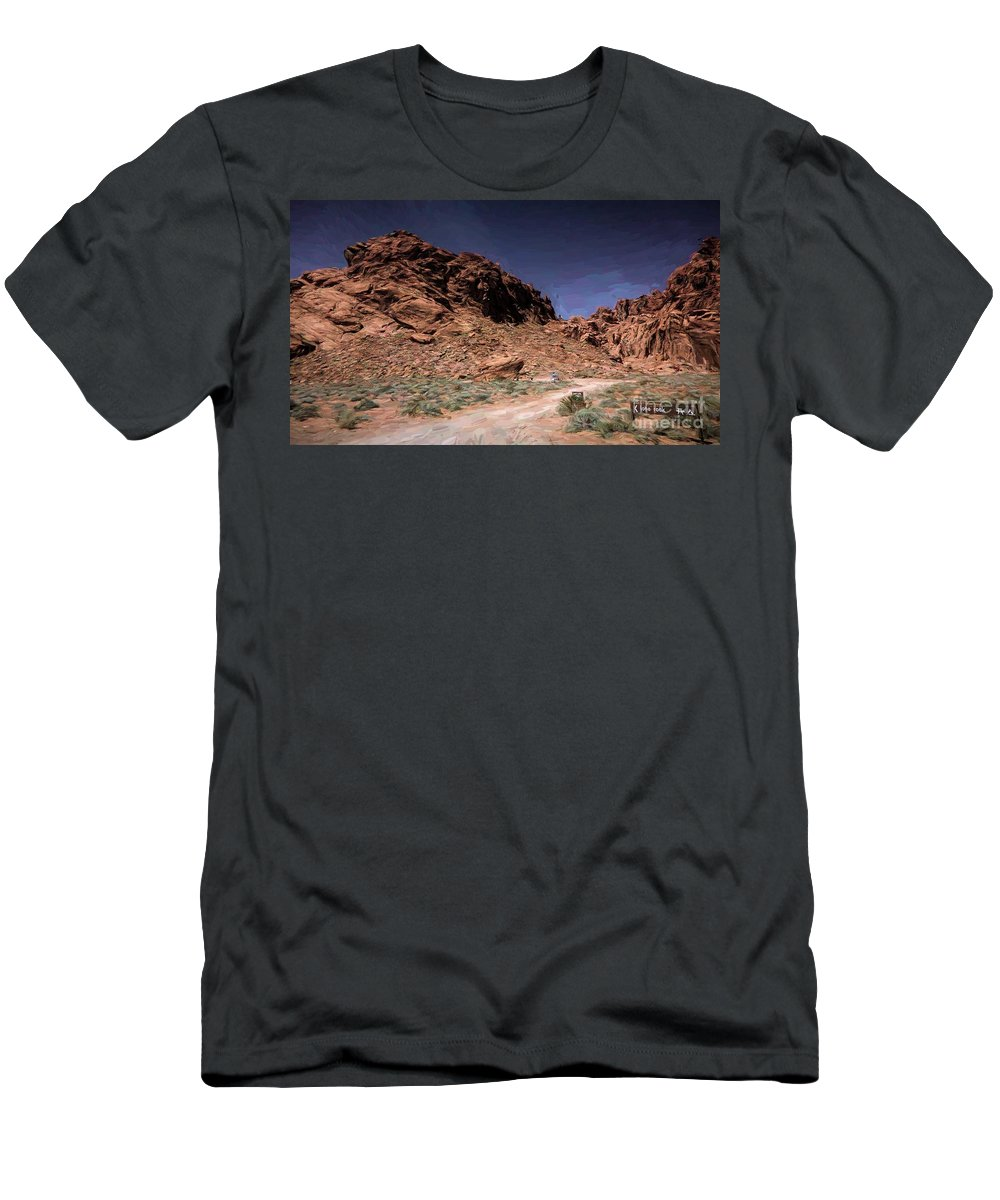 Valley Of Fire Men's T-Shirt (Athletic Fit) featuring the photograph Lone Rock Road Overton Nevada by Chuck Kuhn