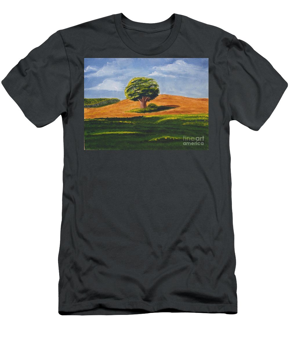 Tree Men's T-Shirt (Athletic Fit) featuring the painting Lone Tree by Mendy Pedersen