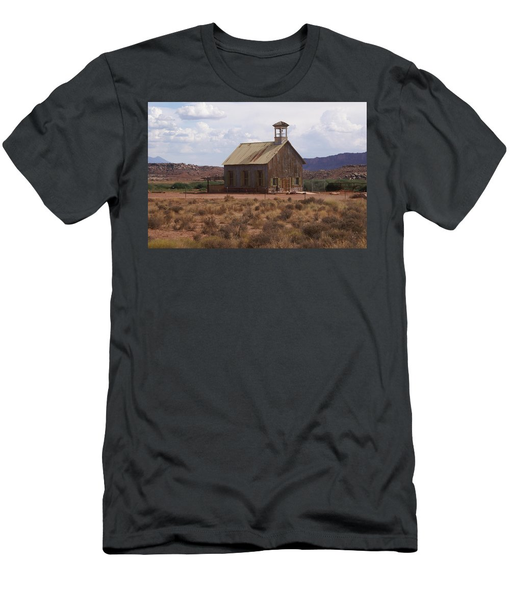 Old Building Men's T-Shirt (Athletic Fit) featuring the photograph Lonely Schoolhouse by Marty Koch