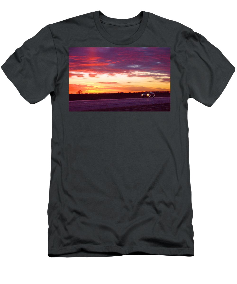 Landscape Men's T-Shirt (Athletic Fit) featuring the photograph Lonesome Highway by Steve Karol