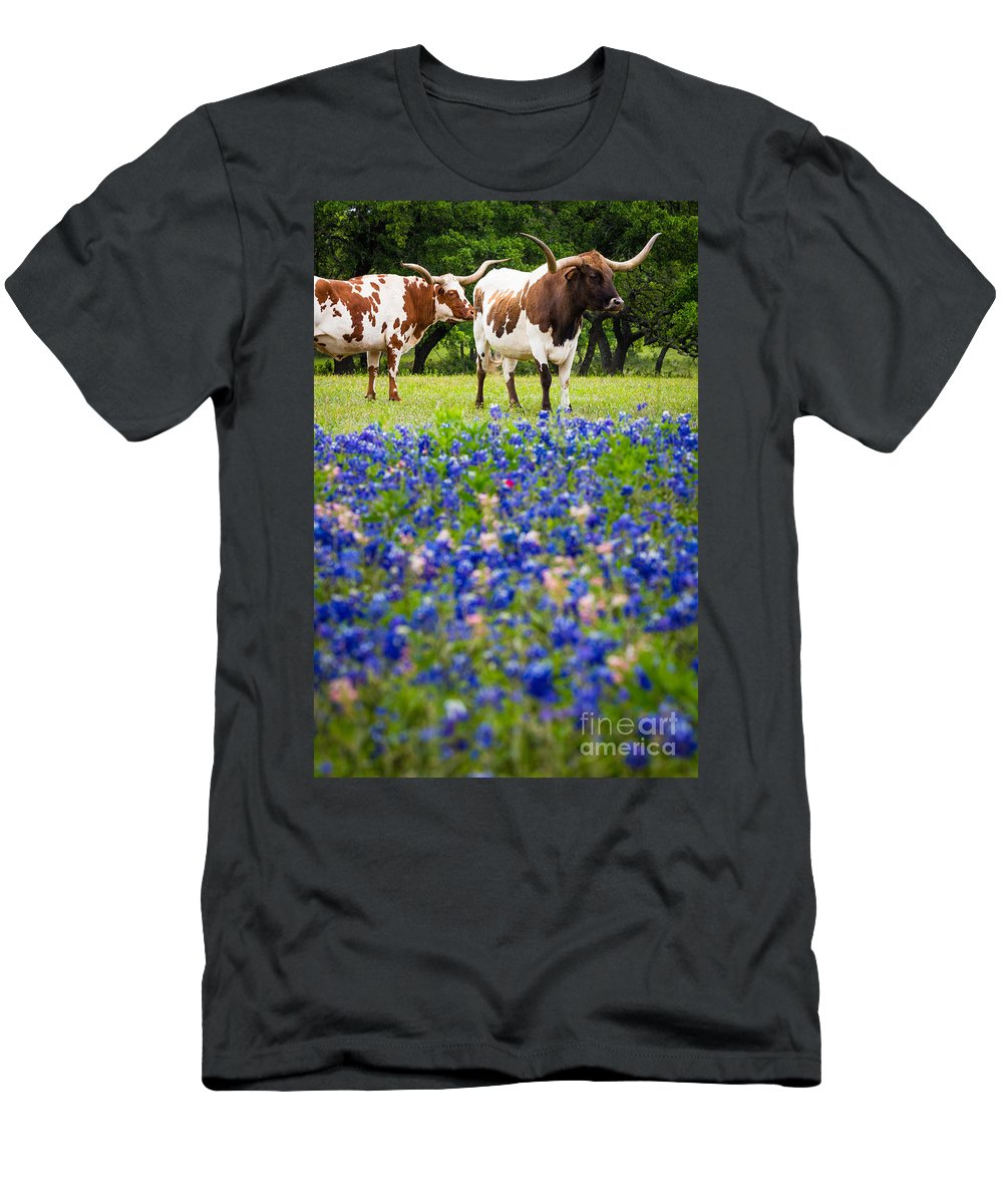 America Men's T-Shirt (Athletic Fit) featuring the photograph Longhorn Duo by Inge Johnsson