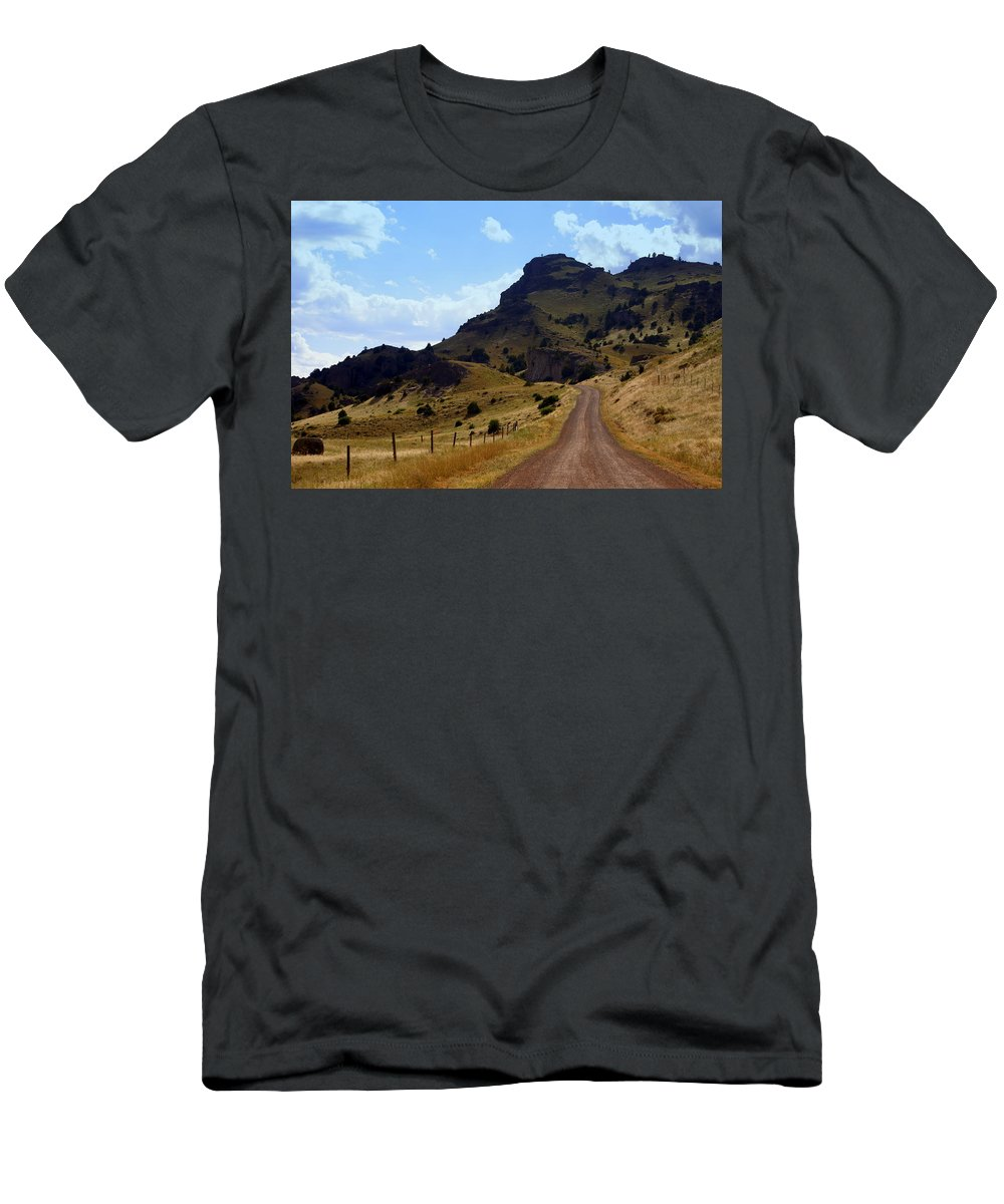 Tom Miner Rd. Men's T-Shirt (Athletic Fit) featuring the photograph Lonly Road by Marty Koch