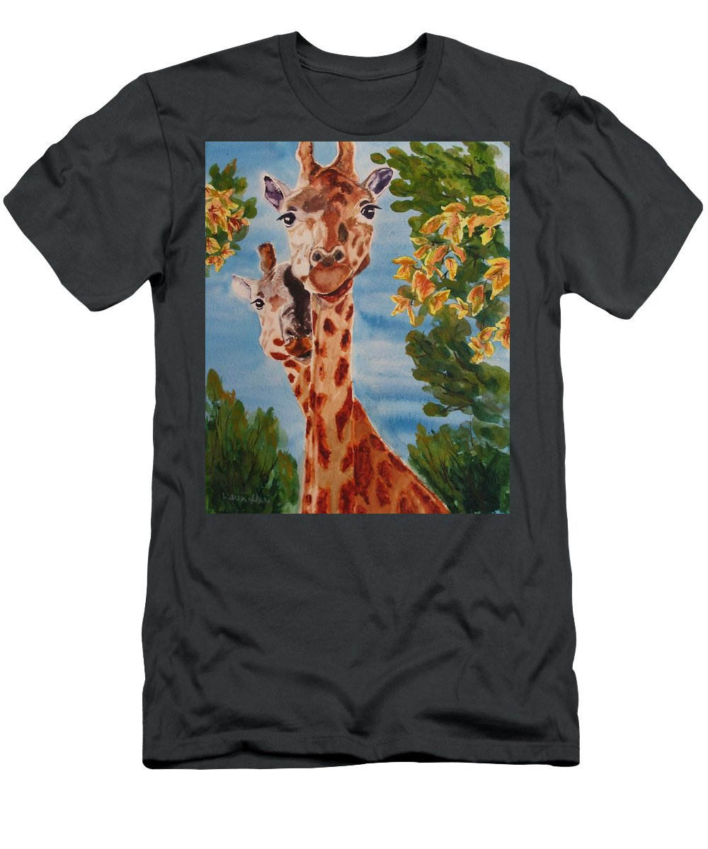 Giraffes T-Shirt featuring the painting Lookin Back by Karen Ilari