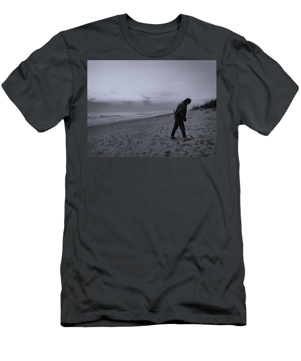 Beach Men's T-Shirt (Athletic Fit) featuring the photograph Looking For A Smooth Stone by John Hansen