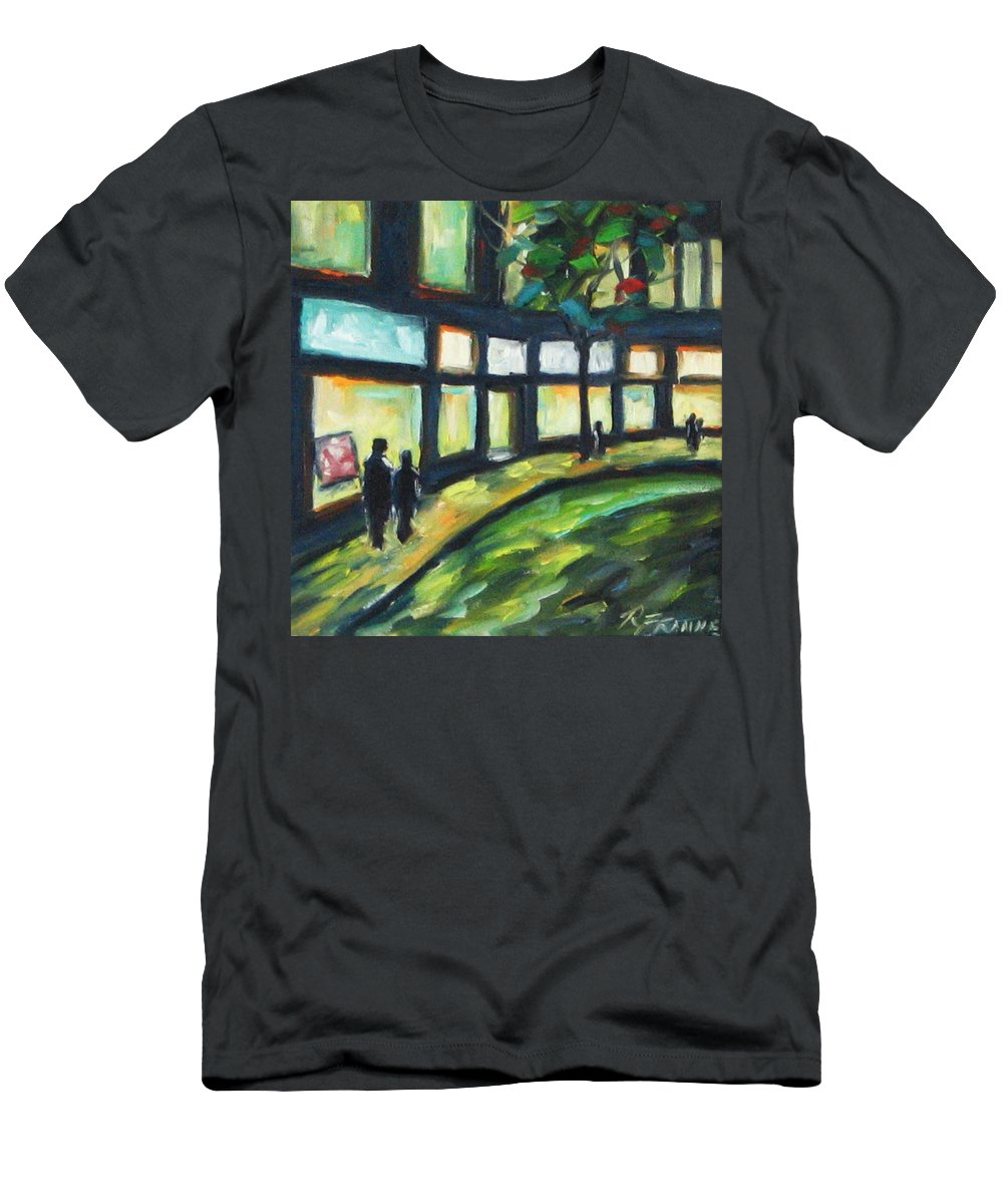 Town Men's T-Shirt (Athletic Fit) featuring the painting Looking On by Richard T Pranke