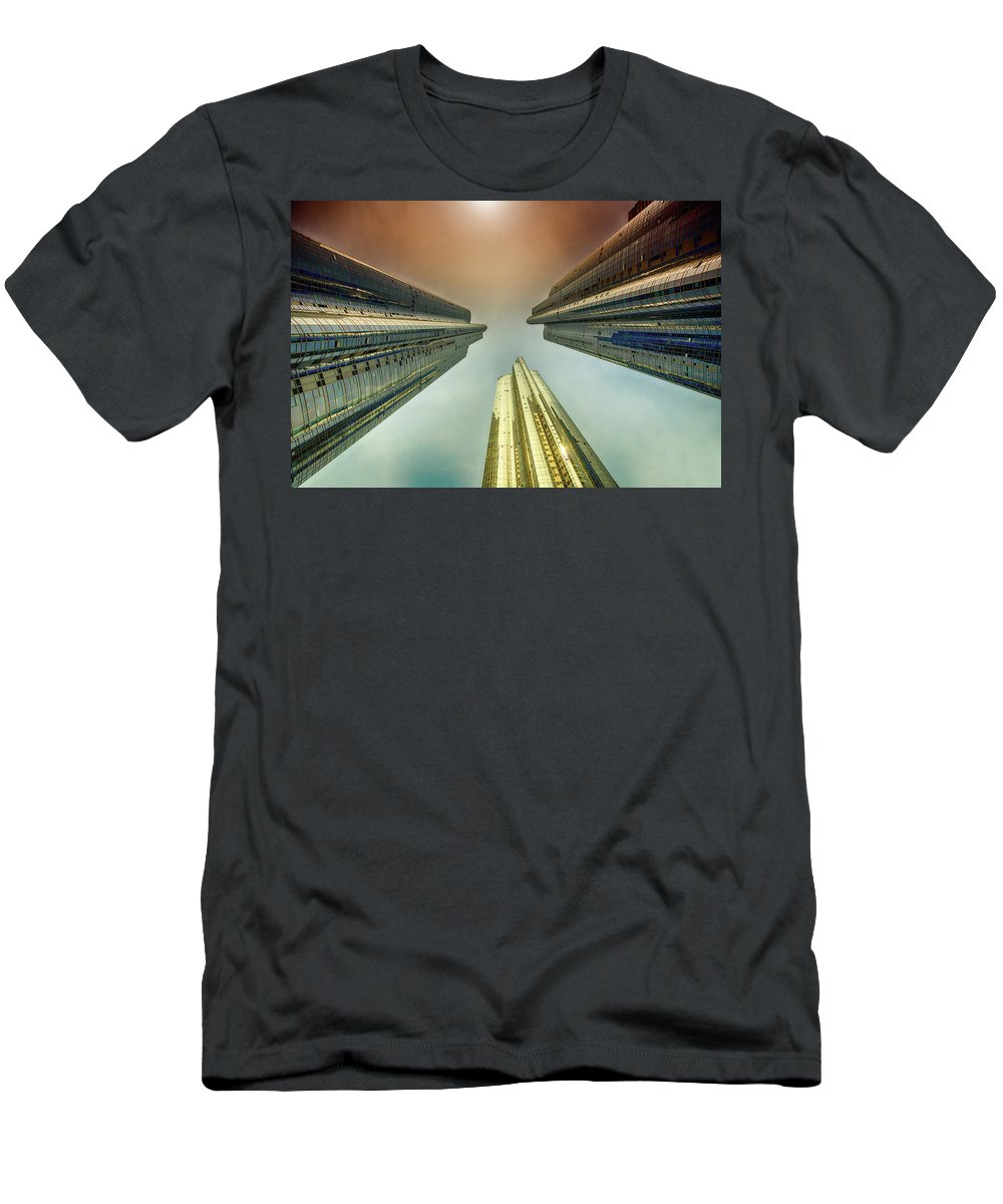 City Men's T-Shirt (Athletic Fit) featuring the photograph Looking Straight Up by Keith Homan