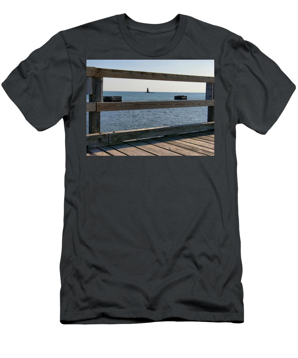 New England Lighthouse Men's T-Shirt (Athletic Fit) featuring the photograph Looking Through by Nancie DeMellia