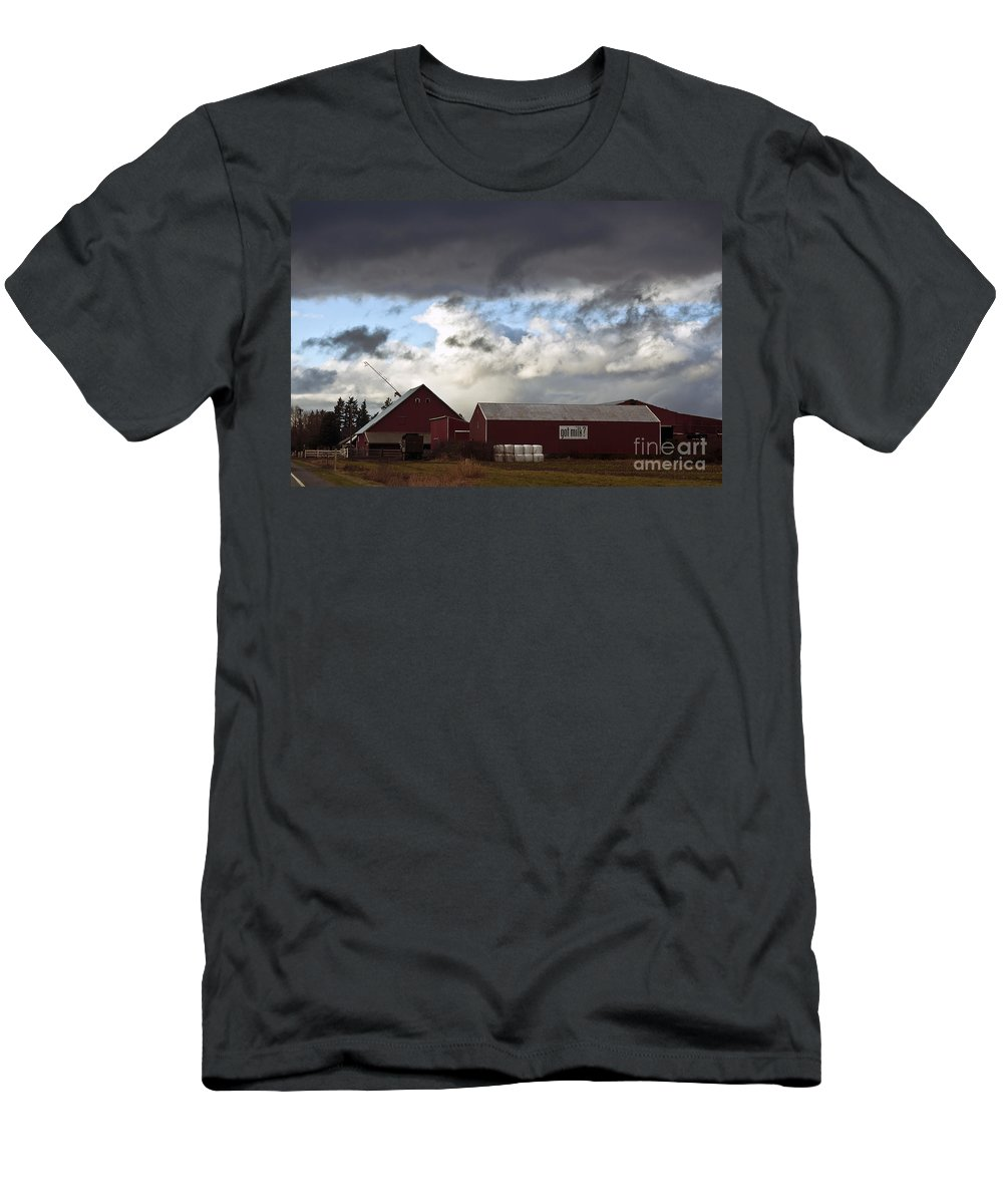Clay Men's T-Shirt (Athletic Fit) featuring the photograph Looming Storm In Sumas Washington by Clayton Bruster