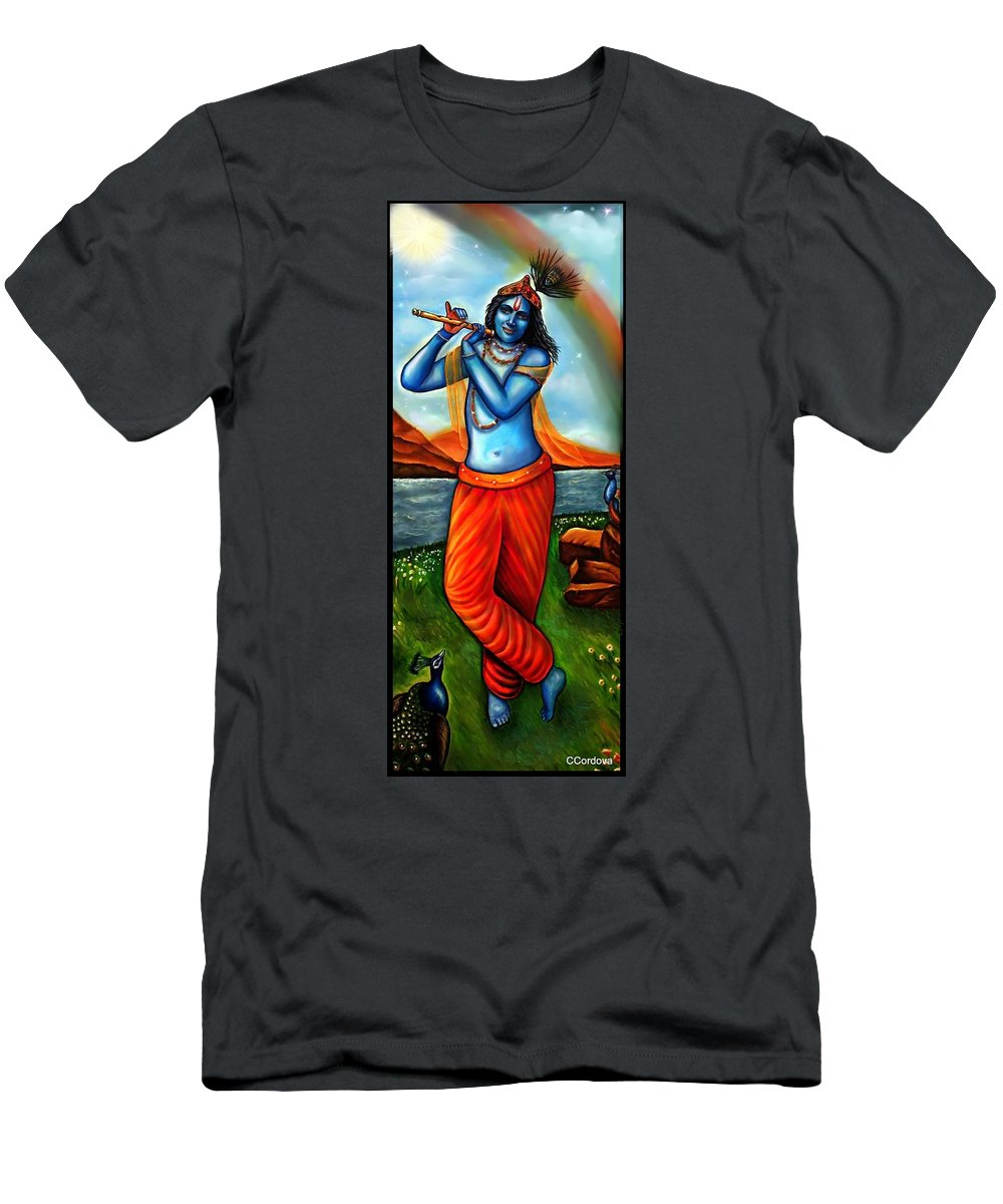 Lord Krishna Men's T-Shirt (Athletic Fit) featuring the painting Lord Krishna- Hindu Deity by Carmen Cordova