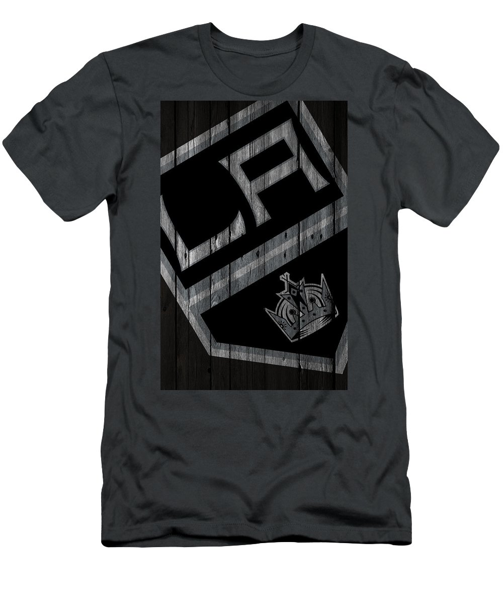 Kings Men's T-Shirt (Athletic Fit) featuring the digital art Los Angeles Kings Wood Fence by Joe Hamilton