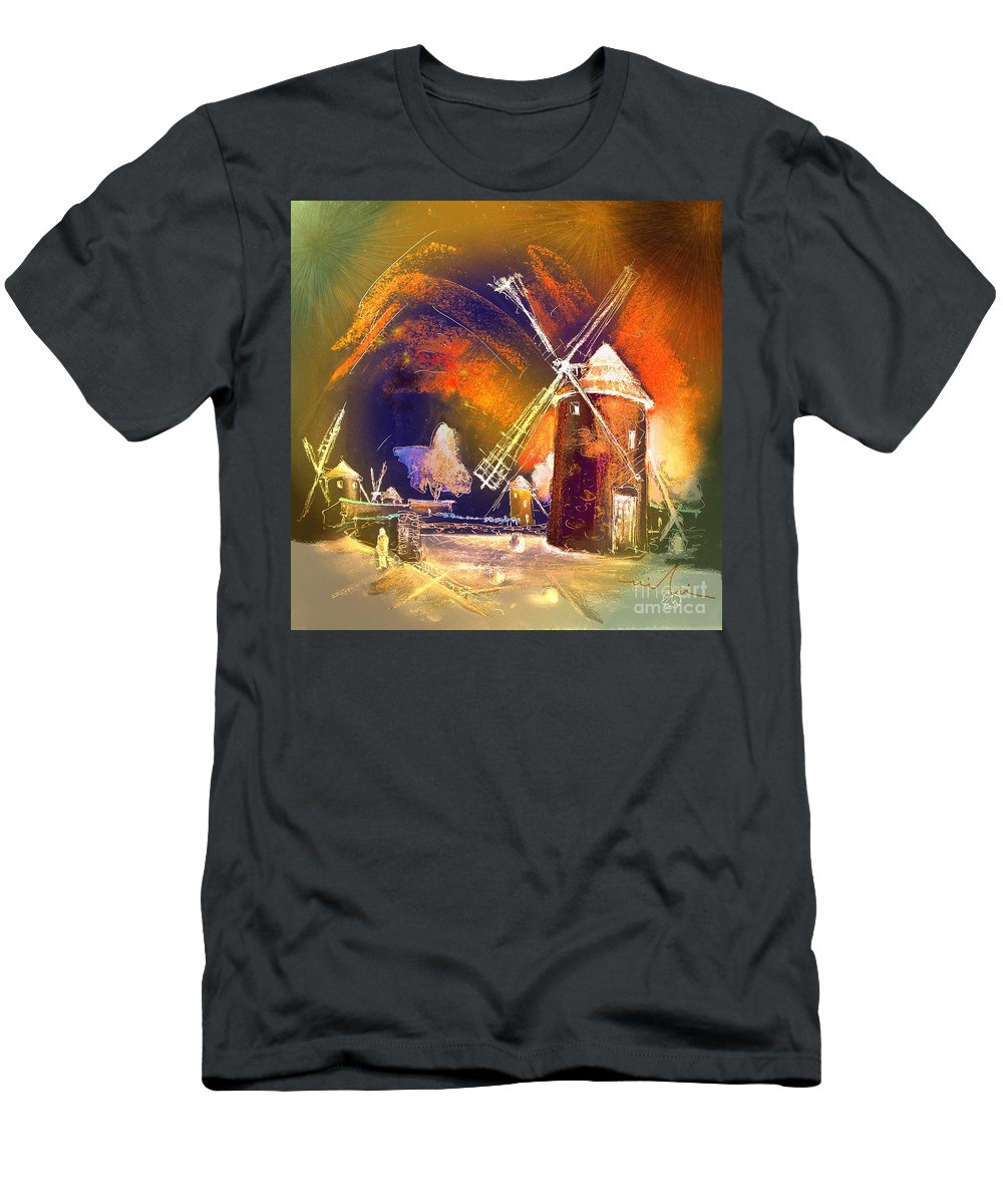 Men's T-Shirt (Athletic Fit) featuring the painting Los Molinos Del Quijote 01 by Miki De Goodaboom