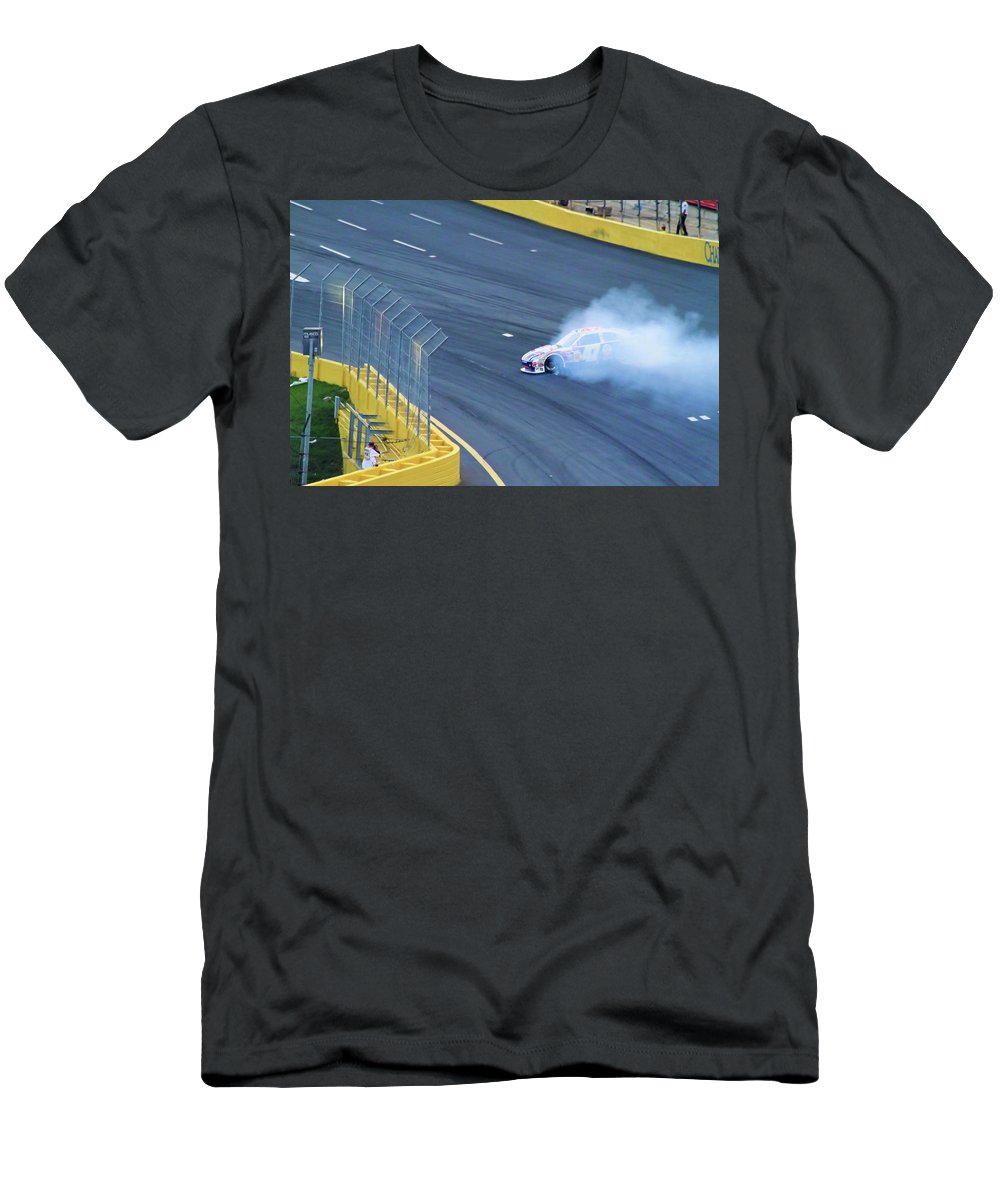 Car Racing Men's T-Shirt (Athletic Fit) featuring the photograph Lost It On The Turn by Karol Livote