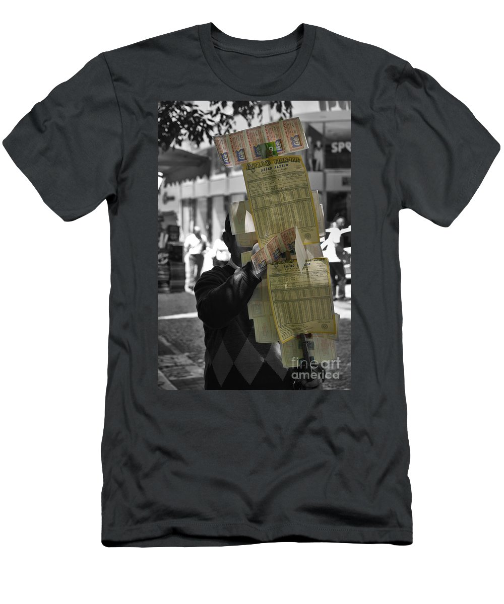 Lottery Men's T-Shirt (Athletic Fit) featuring the photograph Lottery Man by Madeline Ellis