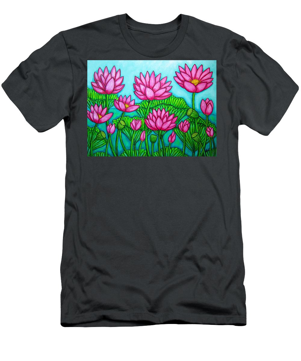 Lotus T-Shirt featuring the painting Lotus Bliss II by Lisa Lorenz