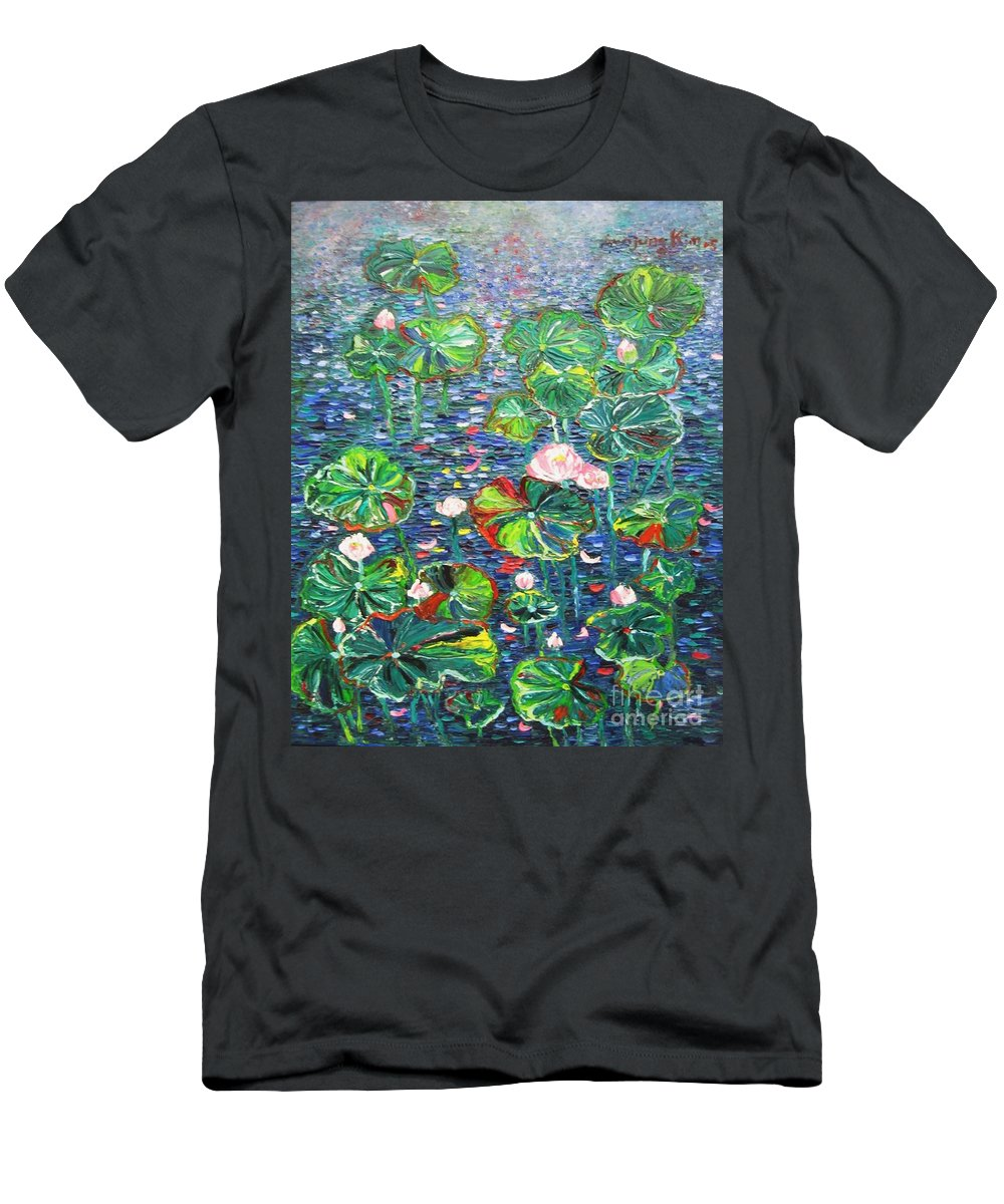 Water Lily Paintings Men's T-Shirt (Athletic Fit) featuring the painting Lotus Flower Water Lily Lily Pads Painting by Seon-Jeong Kim