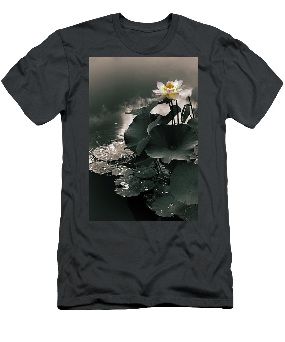 Lotus Men's T-Shirt (Athletic Fit) featuring the photograph Lotus In The Mist by Jessica Jenney
