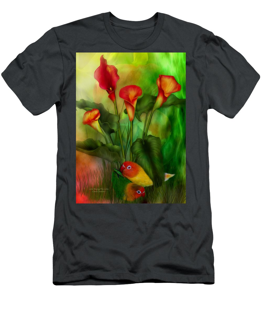 Lovebird Men's T-Shirt (Athletic Fit) featuring the mixed media Love Among The Lilies by Carol Cavalaris