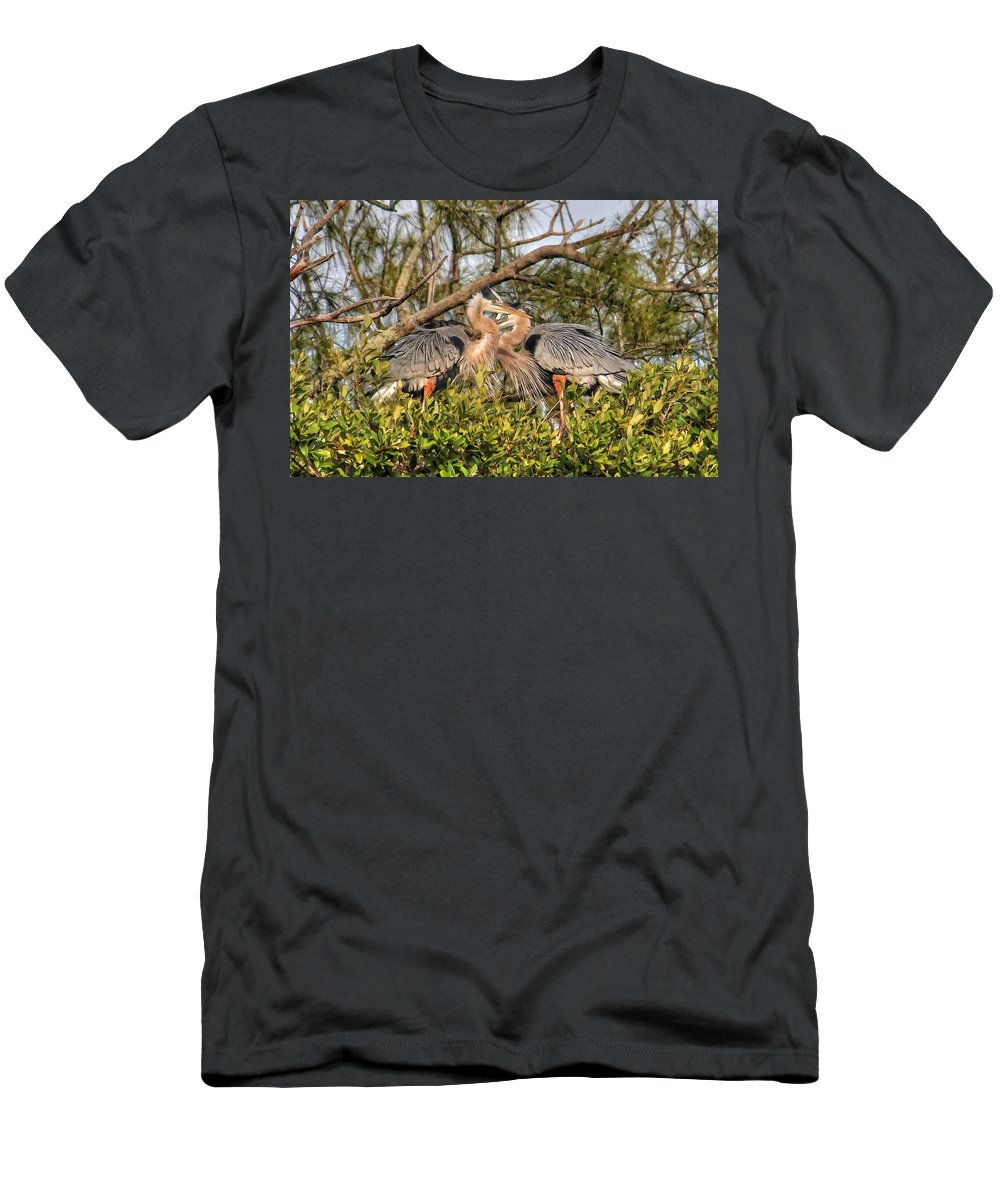 Sarasota Fl Men's T-Shirt (Athletic Fit) featuring the photograph Love Birds - Great Blue Heron by HH Photography of Florida