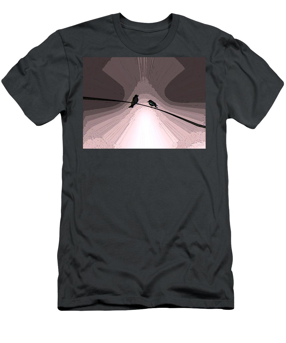 Abstract Men's T-Shirt (Athletic Fit) featuring the digital art Love Birds by Lenore Senior