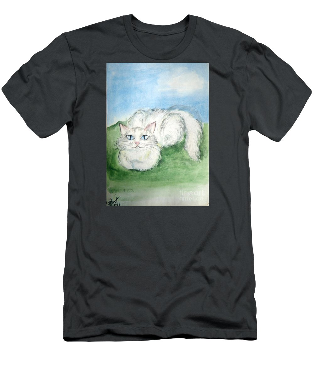 Cat Men's T-Shirt (Athletic Fit) featuring the painting Lovely Kitty. White Cat Kusyaka by Sofia Metal Queen