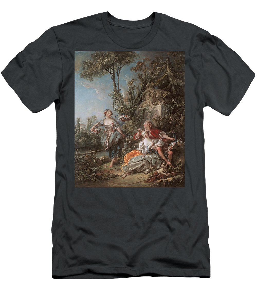 French Artist Men's T-Shirt (Athletic Fit) featuring the painting Lovers In A Park by Francois Boucher