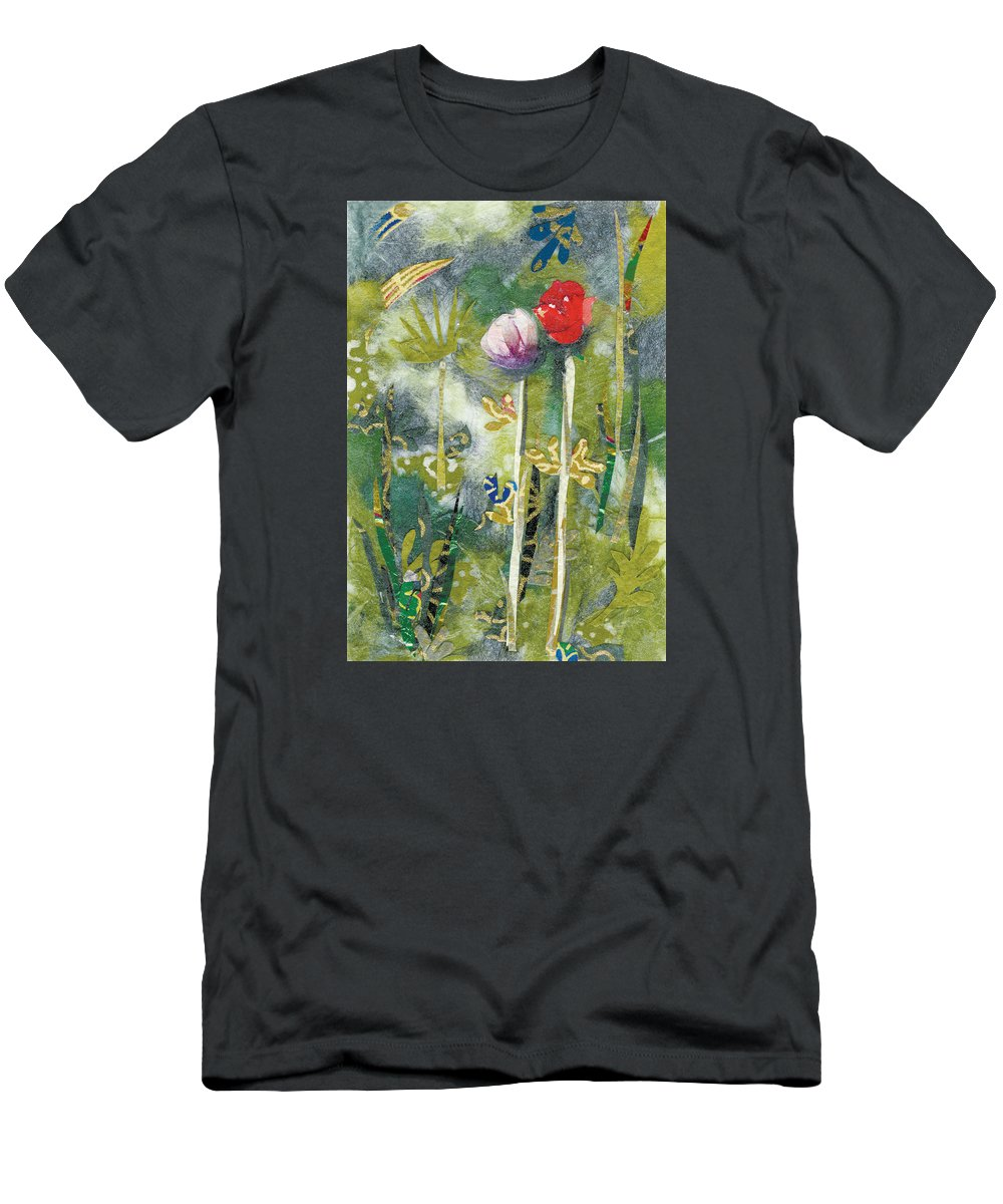 Pair Of Flowers T-Shirt featuring the painting Lovers by Nira Schwartz