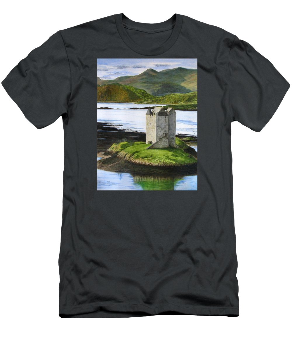 Scotland Men's T-Shirt (Athletic Fit) featuring the painting Low Tide At Castle Stalker by Fay Reid