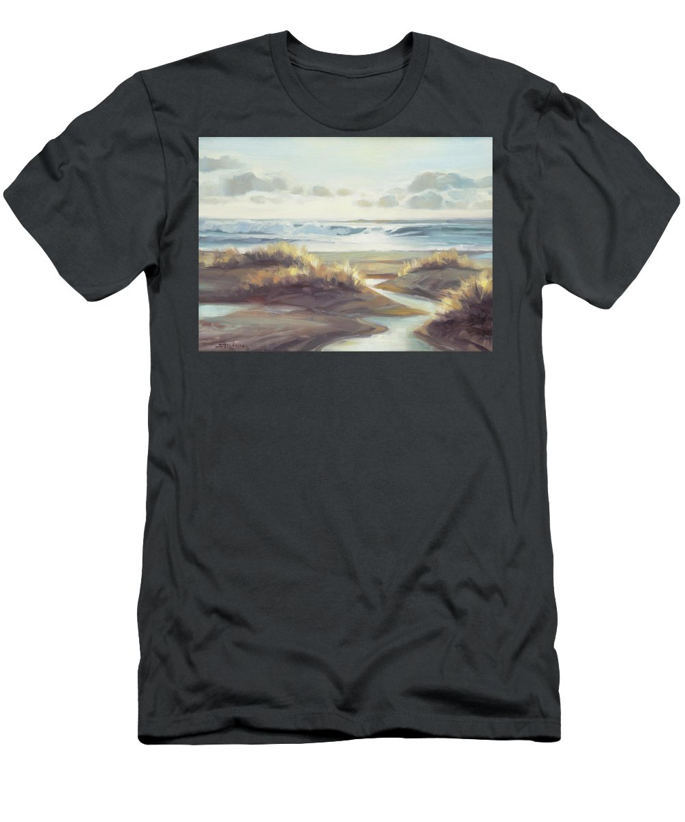 Ocean Men's T-Shirt (Athletic Fit) featuring the painting Low Tide by Steve Henderson