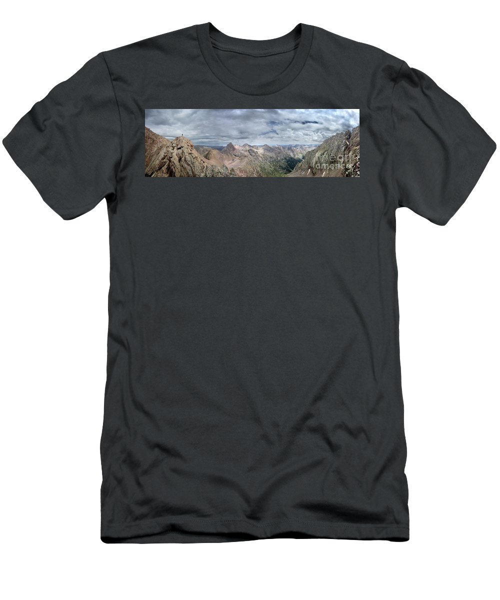 Colorado Men's T-Shirt (Athletic Fit) featuring the photograph Lower North Eolus From The Catwalk - Chicago Basin - Weminuche Wilderness - Colorado by Bruce Lemons