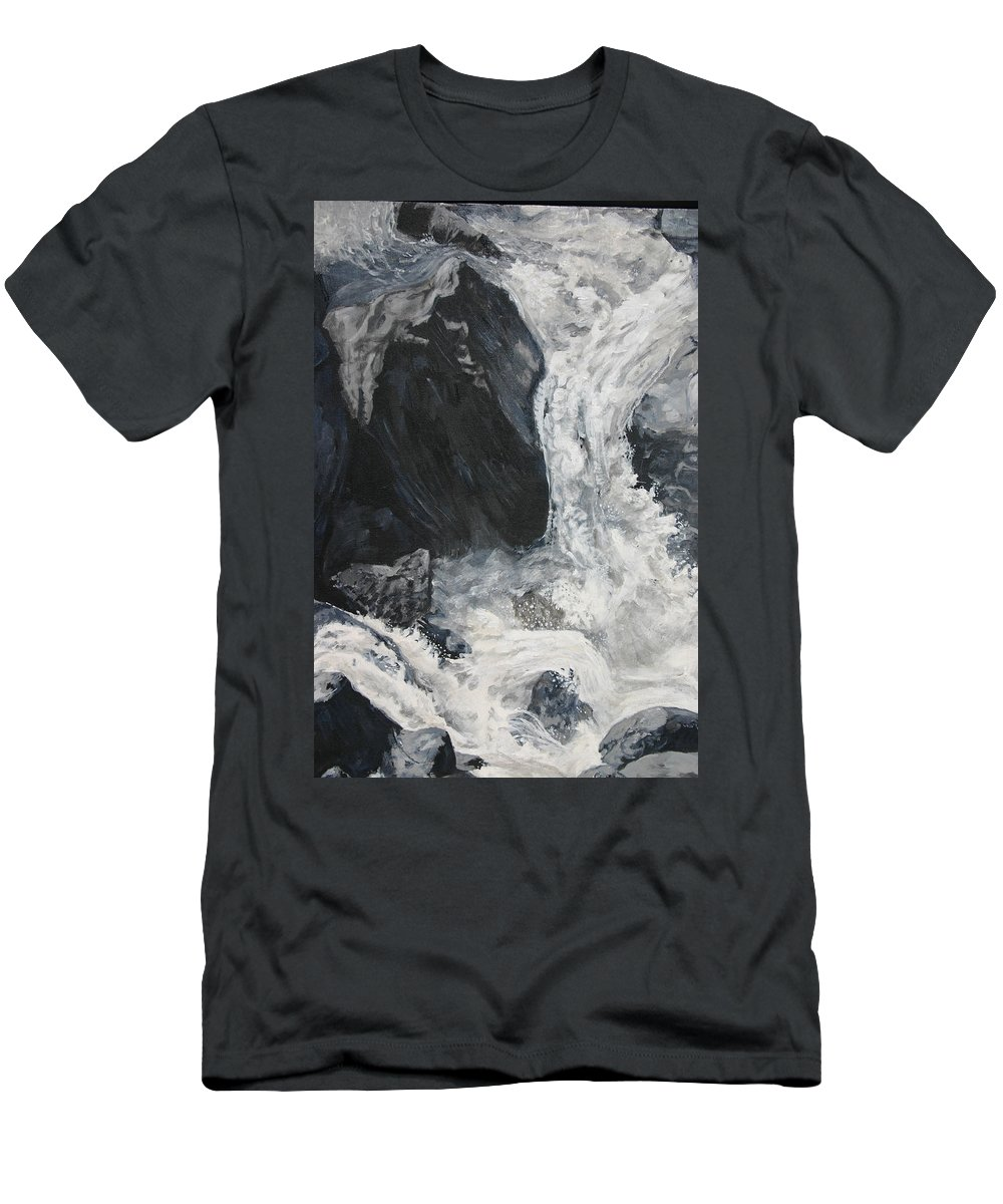 Water Men's T-Shirt (Athletic Fit) featuring the painting Lower Vernal Black And White by Travis Day