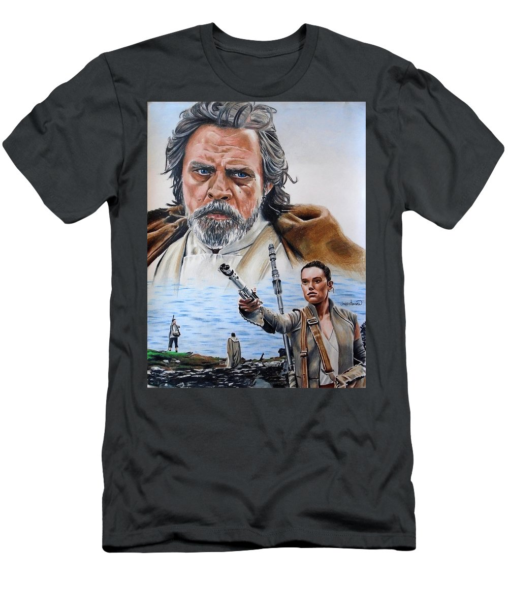 Star Wars Men's T-Shirt (Athletic Fit) featuring the drawing Luke And Rey by Joseph Christensen