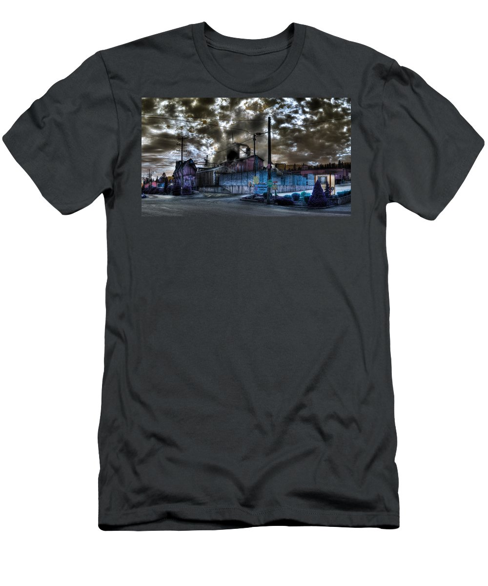 Digital Fantasy Men's T-Shirt (Athletic Fit) featuring the photograph Lumber Mill Fantasy by Lee Santa
