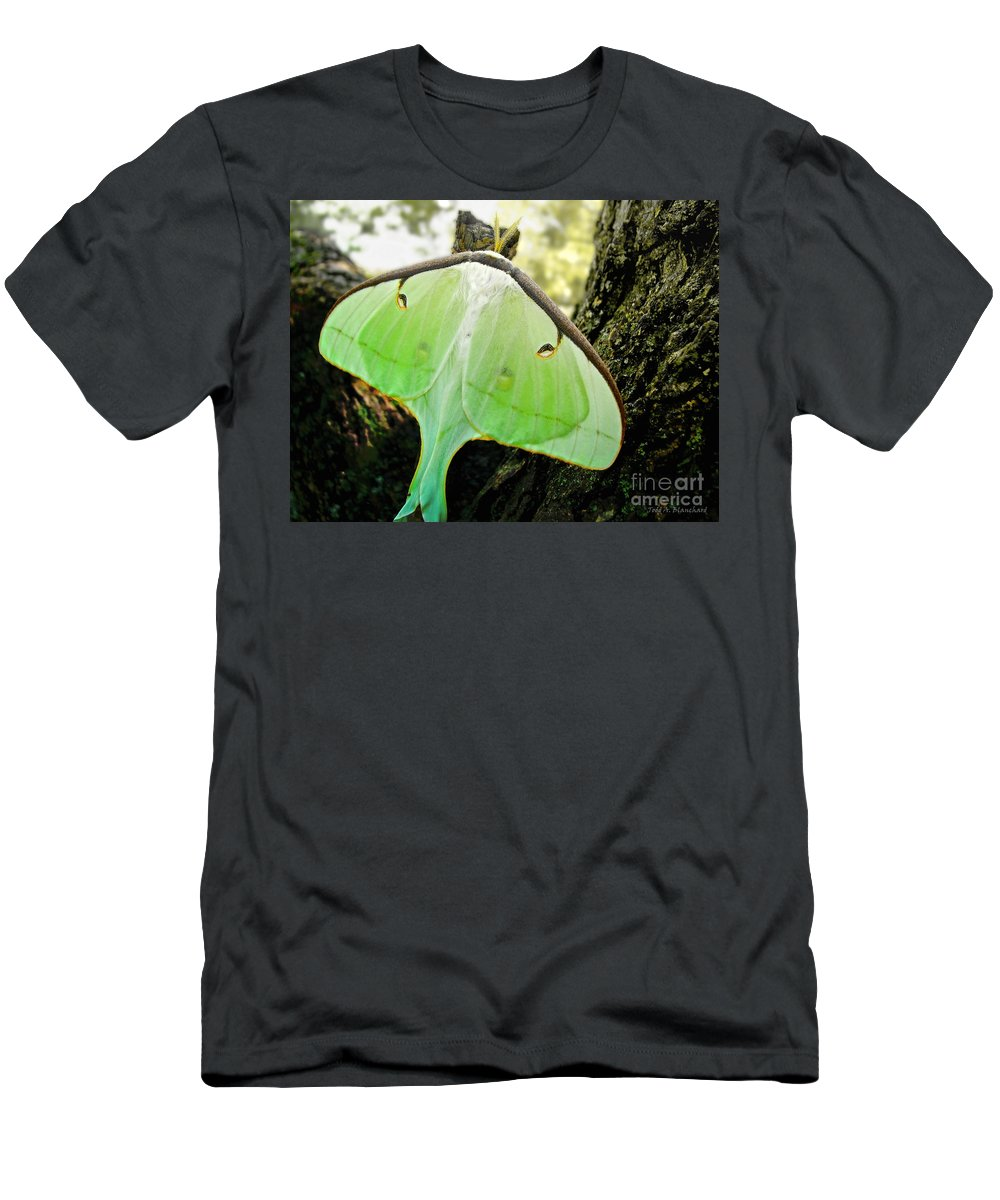 Macro Men's T-Shirt (Athletic Fit) featuring the photograph Luna Moth No. 3 by Todd Blanchard