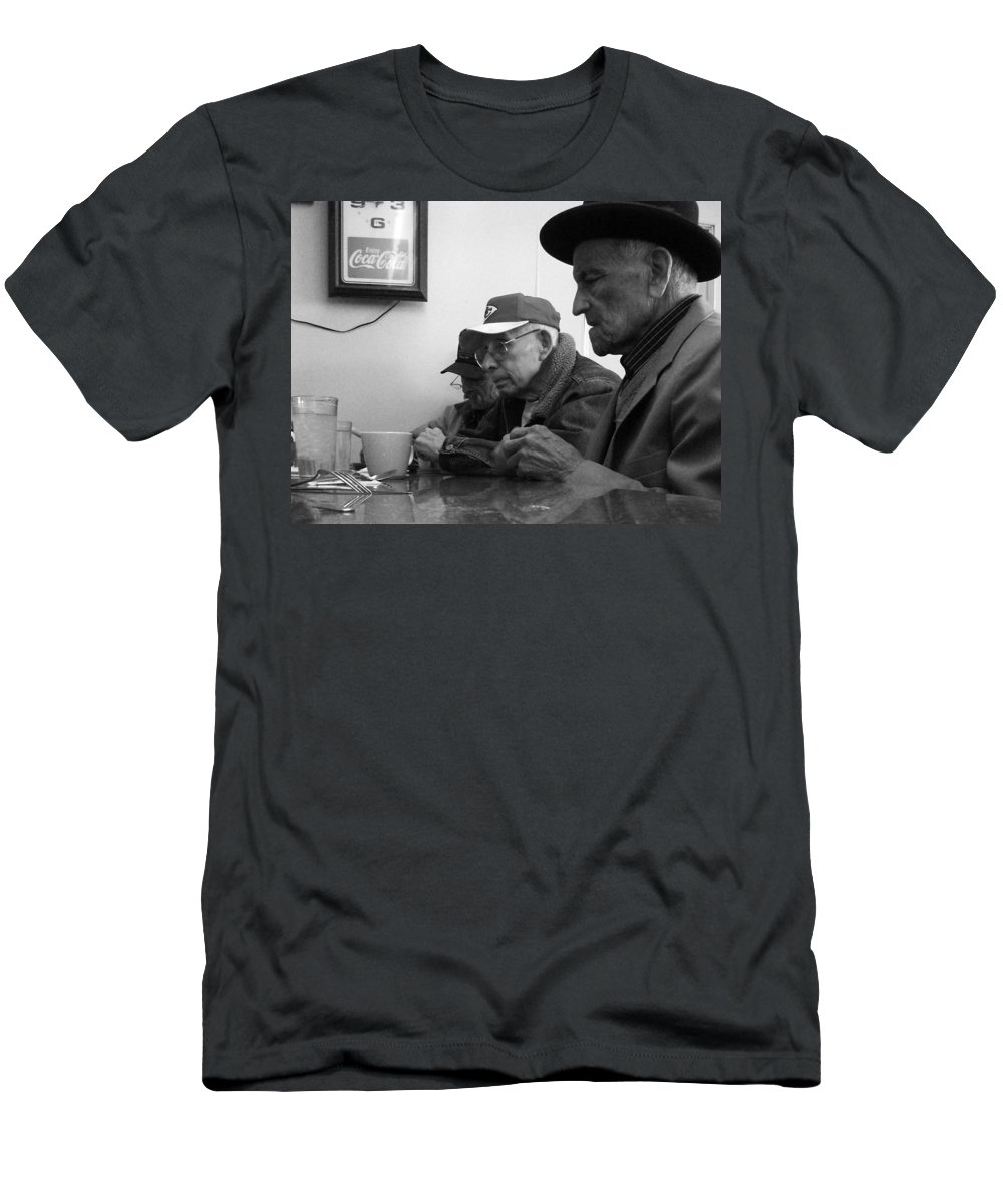 Diner Men's T-Shirt (Athletic Fit) featuring the photograph Lunch Counter Boys - Black And White by Tim Nyberg