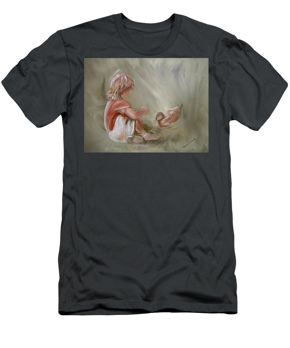 Girl T-Shirt featuring the painting Lunch Pals by Regina Walsh