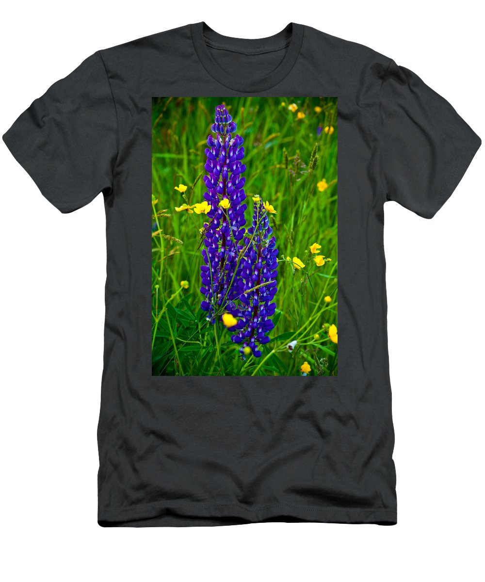 Wildflowers Men's T-Shirt (Athletic Fit) featuring the photograph Lupins And Buttercups by Irwin Barrett