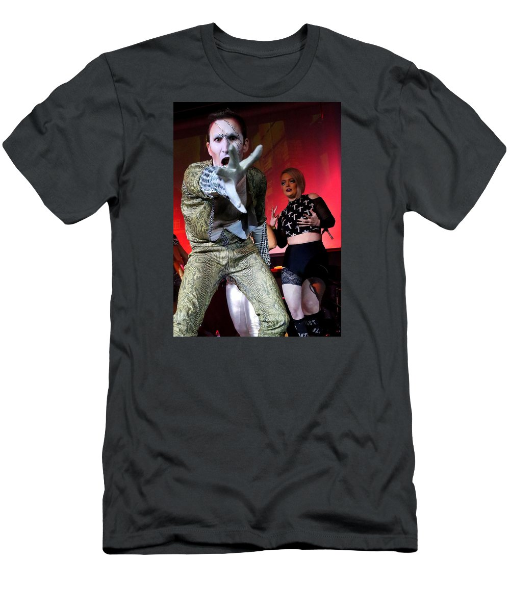 Lysol david Bowie Firstchurchofthesacredsilversexual the Chapel San Francisco Men's T-Shirt (Athletic Fit) featuring the photograph Lysol At Fifth Annual David Bowie Birthday Bash by John King