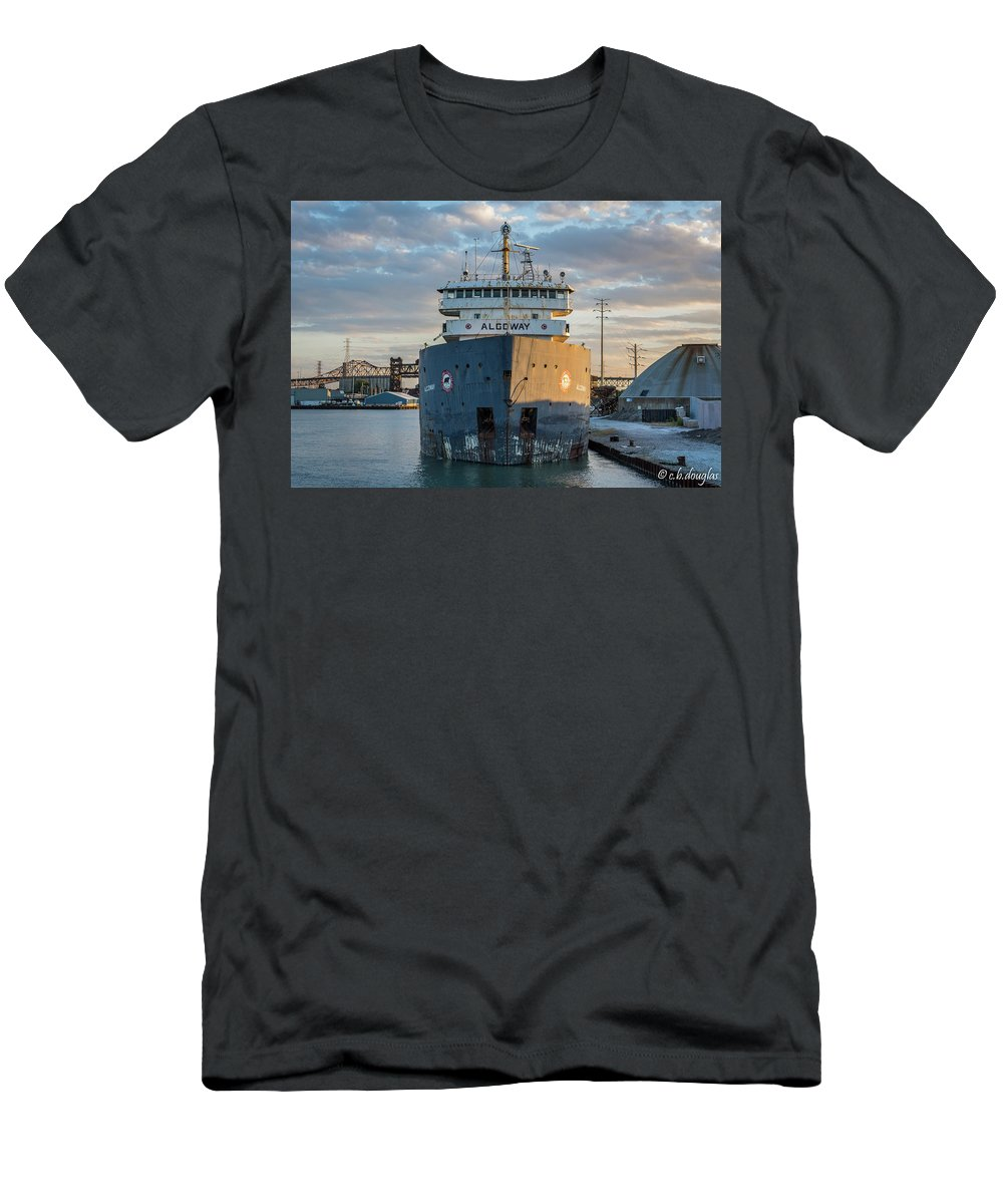 Men's T-Shirt (Athletic Fit) featuring the photograph M/v Algoway At The Salt Dock by Christine Douglas