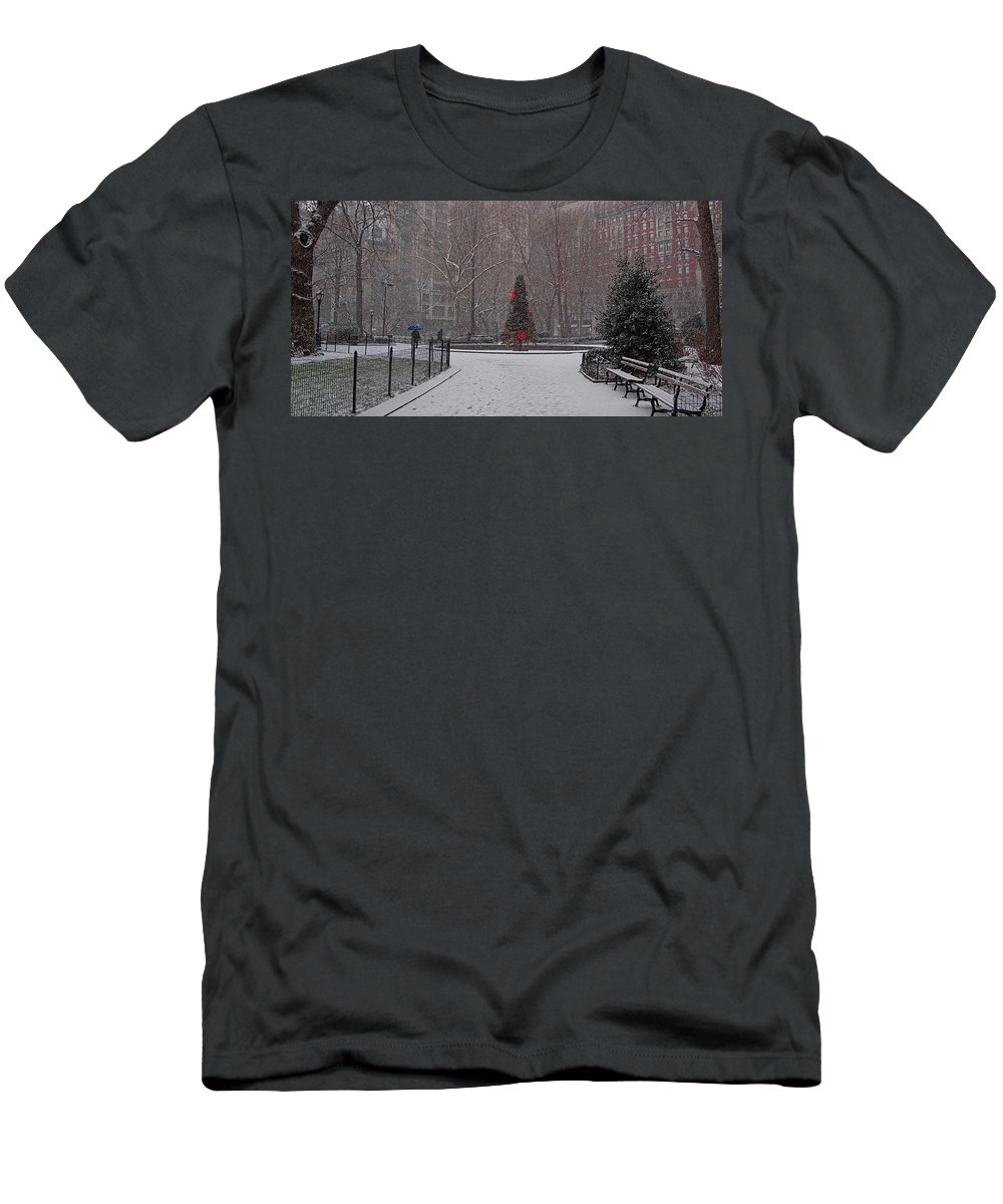 Madison Men's T-Shirt (Athletic Fit) featuring the photograph Madison Square Park In The Snow At Christmas by Chris Lord