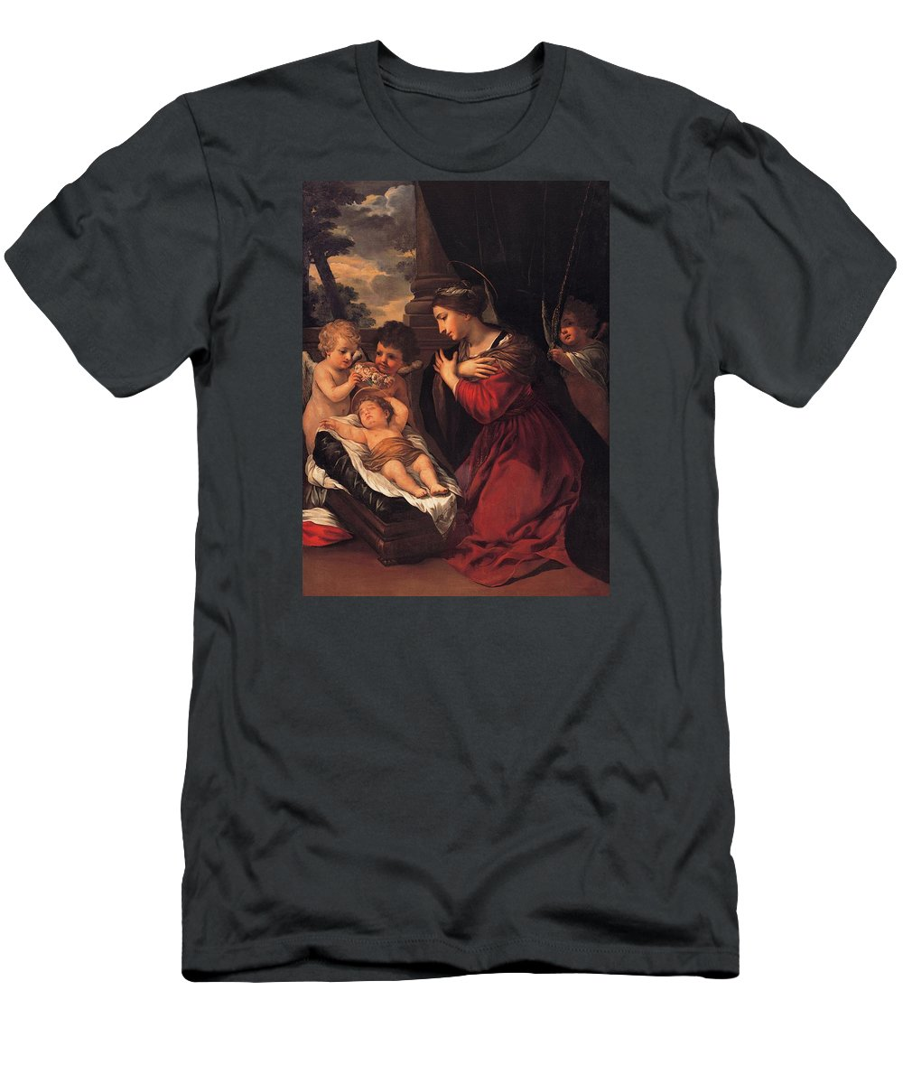 Painting Men's T-Shirt (Athletic Fit) featuring the painting Madonna And Child With Child And Angles by Mountain Dreams