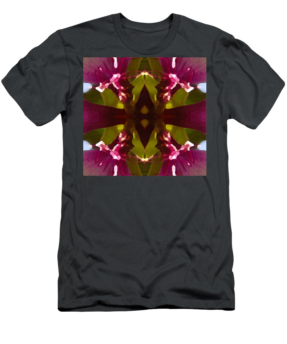 Abstract Painting Men's T-Shirt (Athletic Fit) featuring the digital art Magent Crystal Flower by Amy Vangsgard