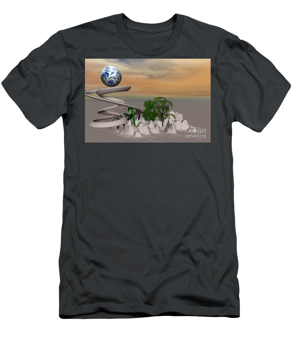 Digital Men's T-Shirt (Athletic Fit) featuring the mixed media Magical Island by Deborah Benoit
