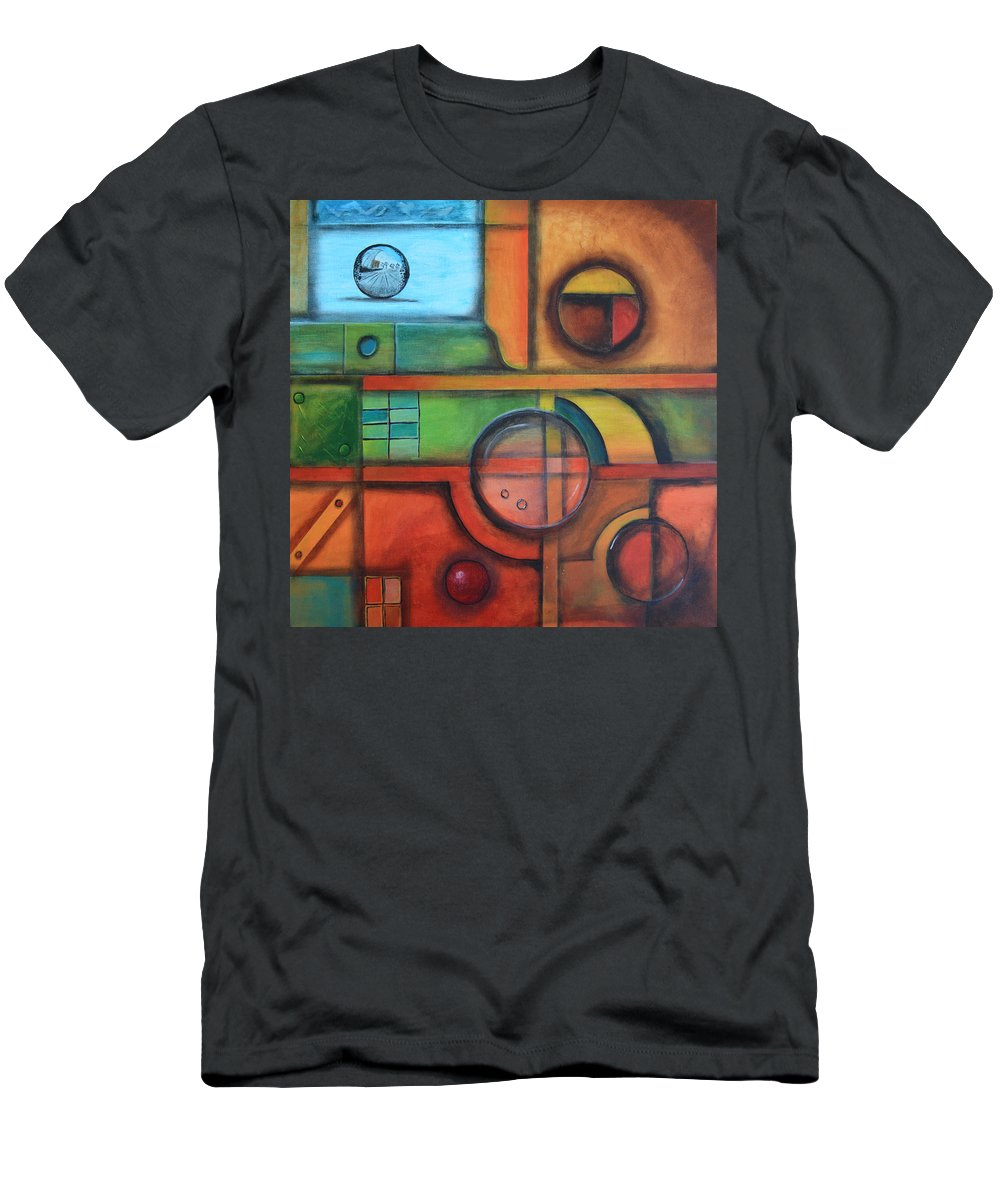 Shape Men's T-Shirt (Athletic Fit) featuring the painting Magnifiers In Red by Arkadiusz Kulesza