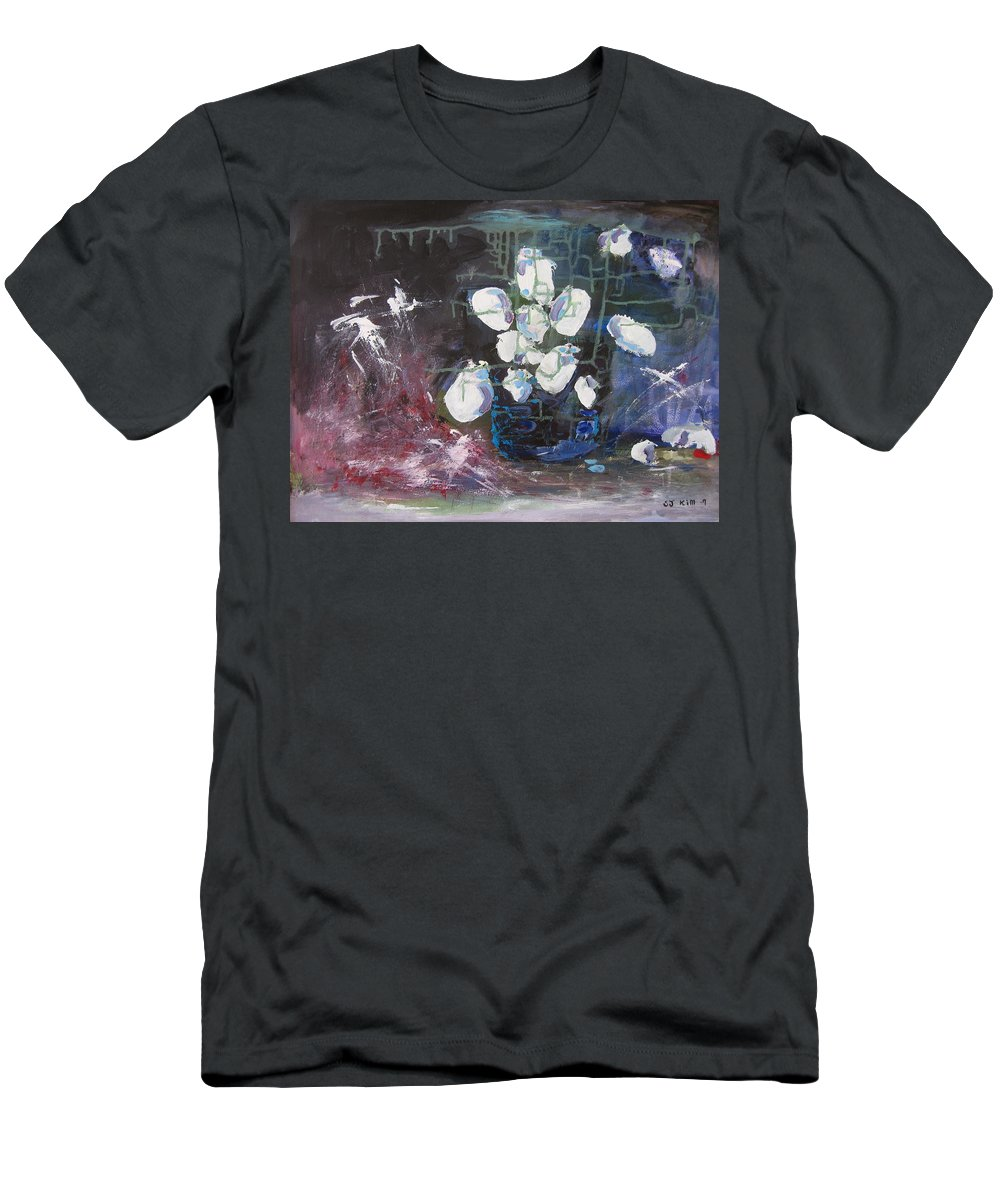 Abstract Paintings Men's T-Shirt (Athletic Fit) featuring the painting Magnolia by Seon-Jeong Kim