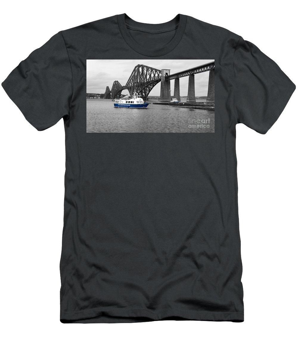 Maid Of The Forth In Blue Men's T-Shirt (Athletic Fit) featuring the photograph Maid Of The Forth In Blue. by Elena Perelman
