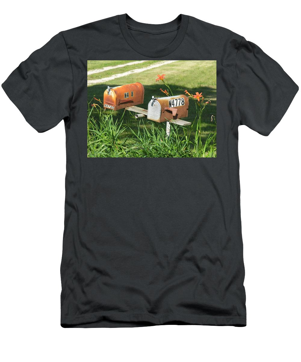 Mailboxes Men's T-Shirt (Athletic Fit) featuring the photograph Mail Boxes by Diane Greco-Lesser