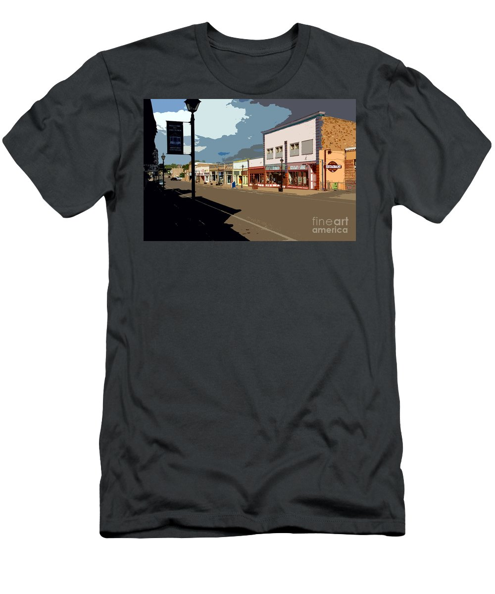 Main Street Men's T-Shirt (Athletic Fit) featuring the painting Main Street by David Lee Thompson