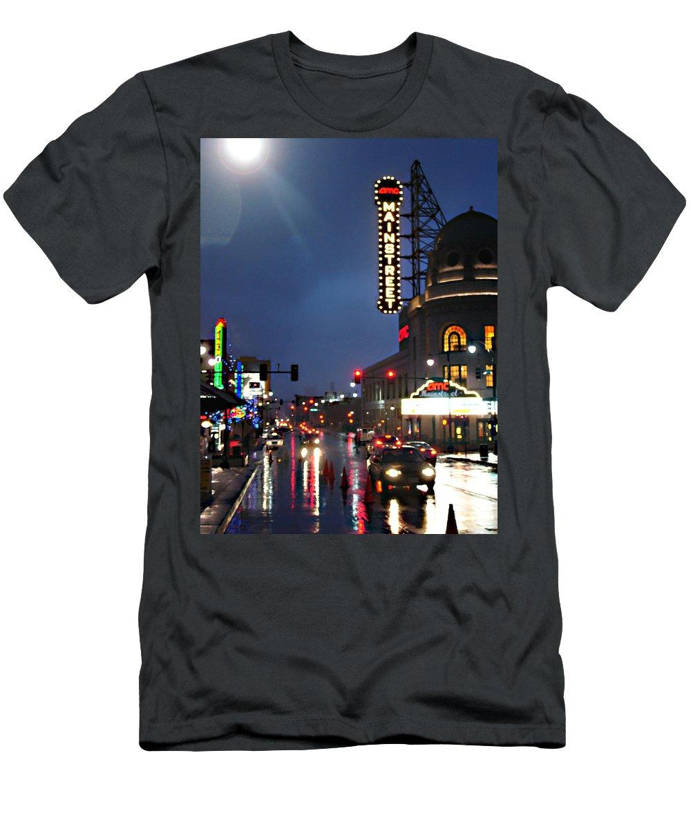 Landscape Men's T-Shirt (Athletic Fit) featuring the photograph Main Street Kansas City by Steve Karol