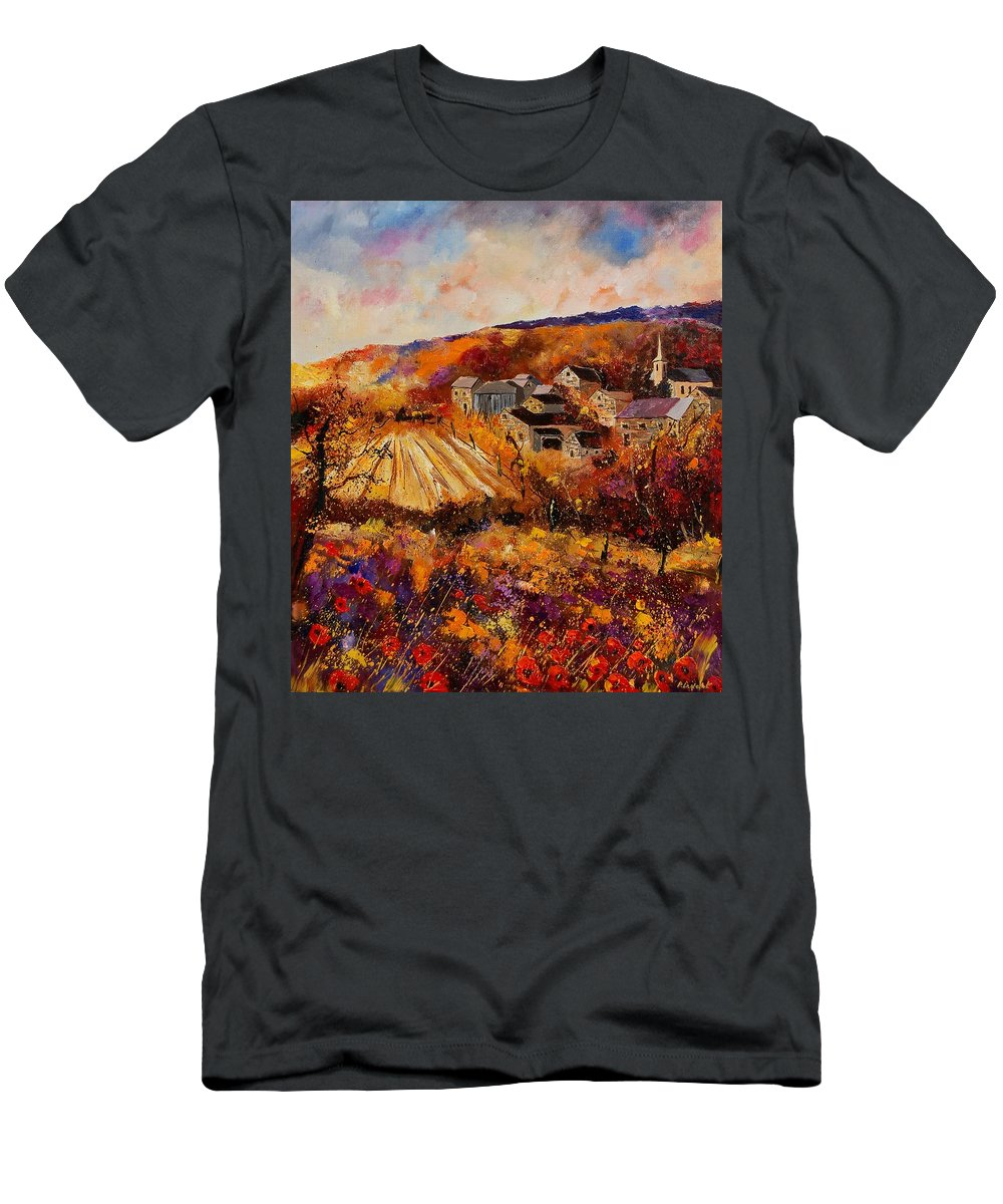 Poppies Men's T-Shirt (Athletic Fit) featuring the painting Maissin by Pol Ledent